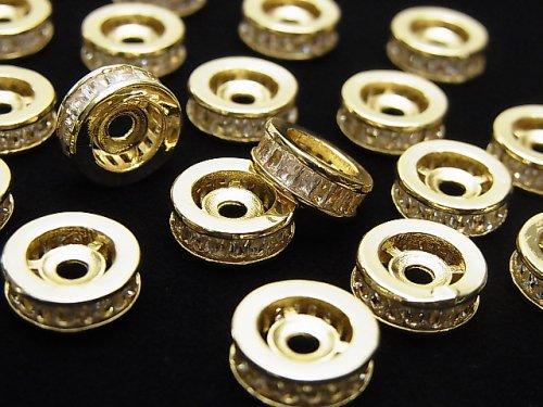 メタルパーツ ロンデル10×10×3.5mm ゴールド(CZ付) 2個