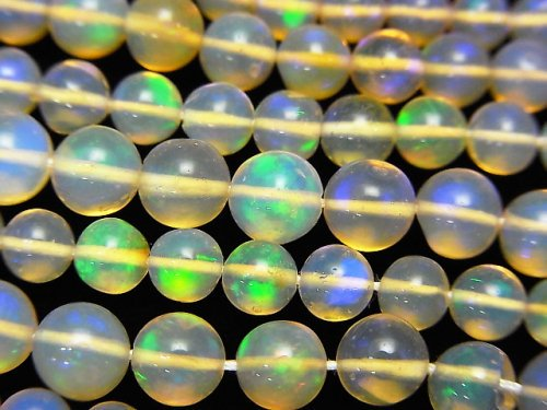 【動画】宝石質エチオピア産クリスタルオパールAAA ラウンド3.5〜6.5mm 半連/1連(約38cm)