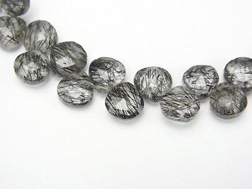 【1点もの】宝石質トルマリンクォーツAAA- マロン ブリオレットカット 1連(約19cm) NO.1