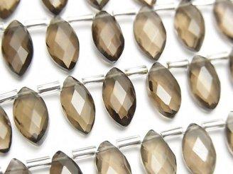 宝石質スモーキークォーツAAA- マーキスカット12×6mm 1連(12粒)