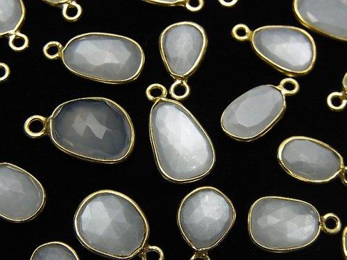 宝石質ホワイトムーンストーンAAA- 枠留めフリーフォーム ローズカット【片カン】 18KGP 5個