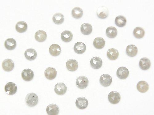 ライトグレー〜ホワイトダイヤモンド ラウンド ローズカット3mm 5粒