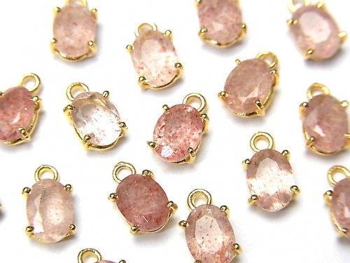 宝石質ピンクエピドートAAA- 枠留めオーバルファセットカット7×5mm 18KGP 3個