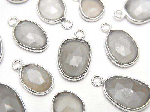 宝石質グレームーンストーンAAA- 枠留めフリーフォーム ローズカット【片カン】 SILVER925 5個