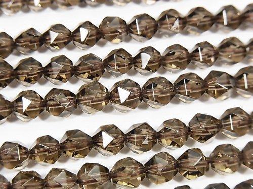 宝石質スモーキークォーツAAA 20面ラウンドカット6mm 1連(約36cm)