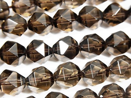 宝石質スモーキークォーツAAA 20面ラウンドカット10mm 半連/1連(約36cm)