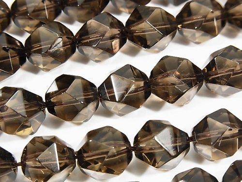 宝石質スモーキークォーツAAA 20面ラウンドカット12mm 半連/1連(約36cm)