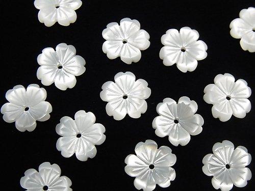 高品質ホワイトシェルAAA フラワー 10mm 中央穴 3個