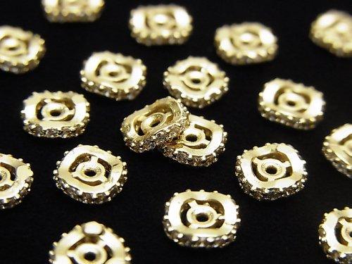 メタルパーツ ロンデル6×6×1.5mm ゴールド(CZ付) 3個