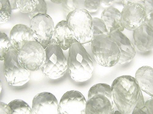 【動画】宝石質グリーンアメジストAAA ドロップ ブリオレットカット 半連/1連(約20cm)