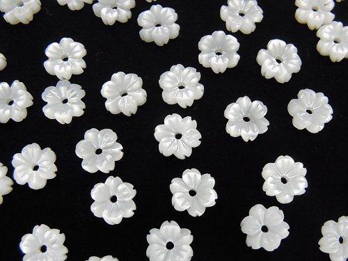 【動画】高品質ホワイトシェルAAA フラワー 6mm 中央穴 4個