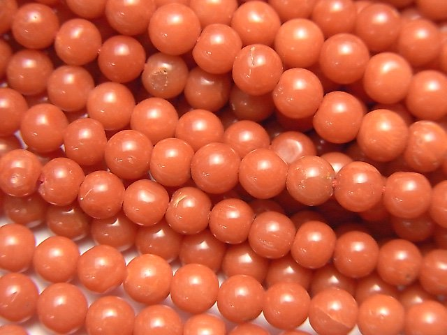 サルデーニャ産本珊瑚・レッドコーラル ラウンド4〜4.5mm 1/4連〜1連(約43cm)