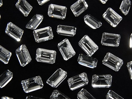 【動画】宝石質ホワイトトパーズAAA 穴なしレクタングルファセットカット7×5mm 5粒