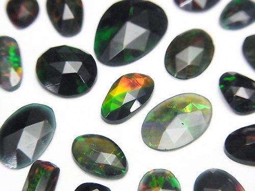 【動画】宝石質ブラックオパールAAA 穴なし フリーフォーム 片面ローズカット 4粒