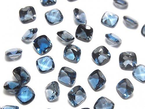 【動画】宝石質ロンドンブルートパーズAAA 穴なしスクエアファセットカット7×7mm 2粒