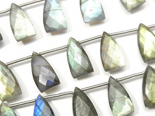 【動画】宝石質ラブラドライトAAA- 変形ペアシェイプカット15×8mm 1連(8粒)