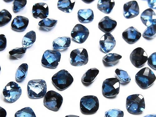 【動画】宝石質ロンドンブルートパーズAAA 穴なしスクエアファセットカット(チェッカーカット)6×6mm 3粒