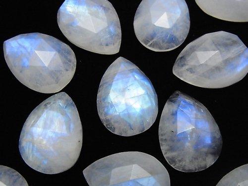 【動画】宝石質レインボームーンストーンAA++ ペアシェイプ ローズカット18×13mm 2個