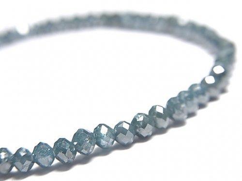【動画】【1点もの】【1mm穴】 宝石質ブルーダイヤモンド ボタンカット 1連(ブレス) NO.3