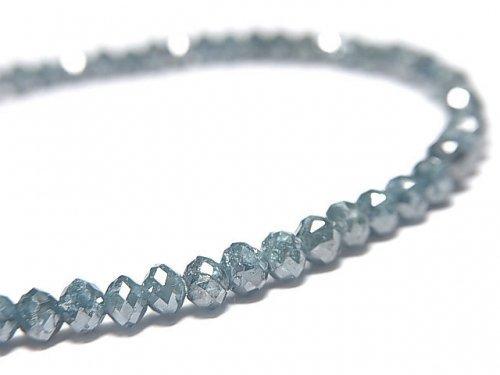 【動画】【1点もの】【1mm穴】 宝石質ブルーダイヤモンド ボタンカット 1連(ブレス) NO.5