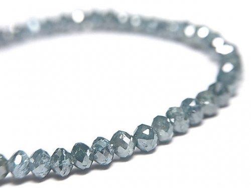 【動画】【1点もの】【1mm穴】 宝石質ブルーダイヤモンドAAA ボタンカット 1連(ブレス) NO.6