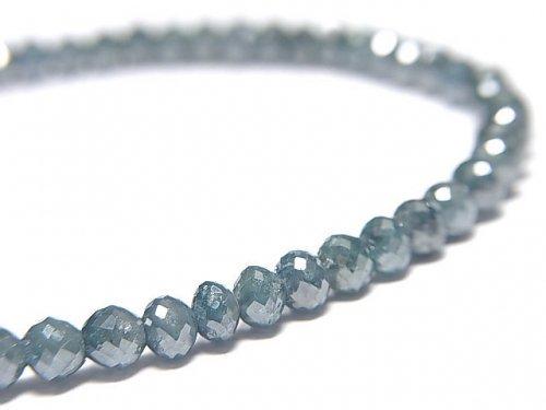 【動画】【1点もの】【1mm穴】 宝石質ブルーダイヤモンドAAA ボタンカット 1連(ブレス) NO.7
