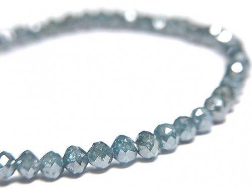 【動画】【1点もの】【1mm穴】 宝石質ブルーダイヤモンドAAA ボタンカット 1連(ブレス) NO.8