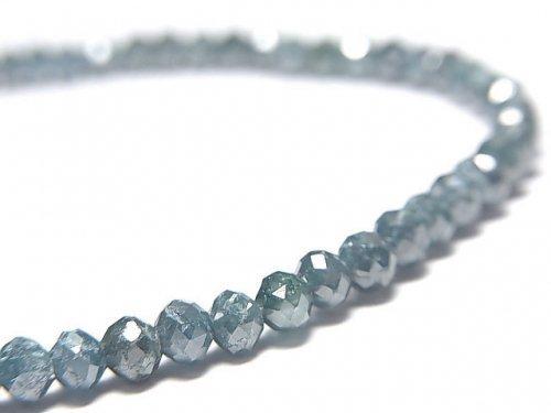 【動画】【1点もの】【1mm穴】 宝石質ブルーダイヤモンドAAA ボタンカット 1連(ブレス) NO.9