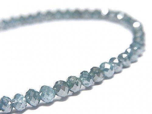 【動画】【1点もの】【1mm穴】 宝石質ブルーダイヤモンドAAA ボタンカット 1連(ブレス) NO.10