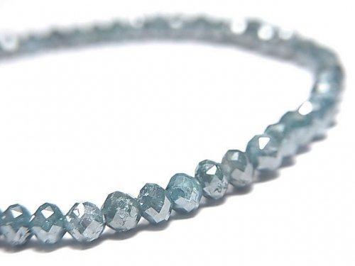 【動画】【1点もの】【1mm穴】 宝石質ブルーダイヤモンドAAA ボタンカット 1連(ブレス) NO.11