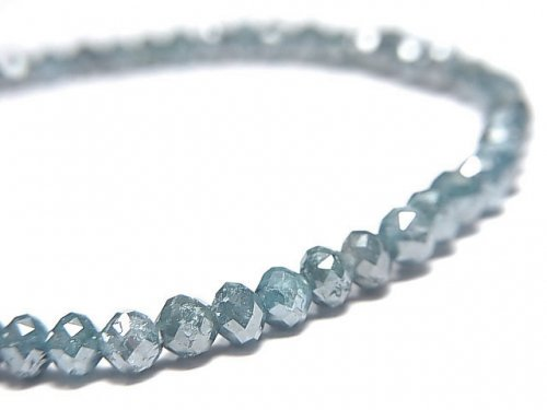 【動画】【1点もの】【1mm穴】 宝石質ブルーダイヤモンド ボタンカット 1連(ブレス) NO.11
