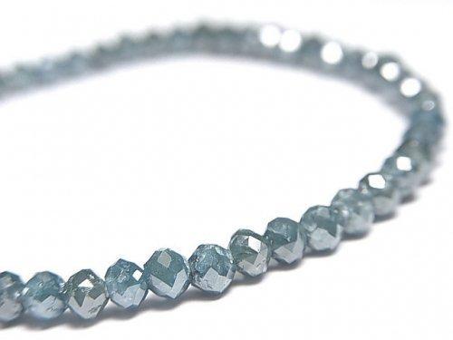 【動画】【1点もの】【1mm穴】 宝石質ブルーダイヤモンドAAA ボタンカット 1連(ブレス) NO.12