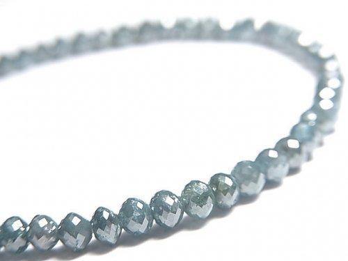 【動画】【1点もの】【1mm穴】 宝石質ブルーダイヤモンドAAA ボタンカット 1連(ブレス) NO.13
