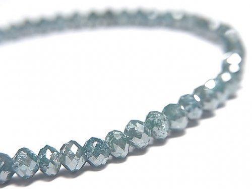 【動画】【1点もの】【1mm穴】 宝石質ブルーダイヤモンドAAA ボタンカット 1連(ブレス) NO.14
