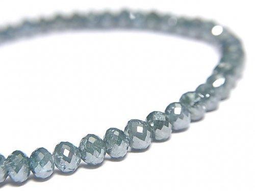【動画】【1点もの】【1mm穴】 宝石質ブルーダイヤモンド ボタンカット 1連(ブレス) NO.15