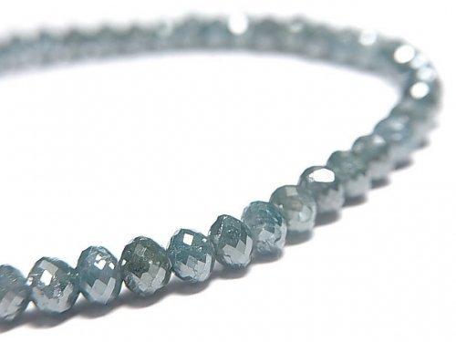 【動画】【1点もの】【1mm穴】 宝石質ブルーダイヤモンド ボタンカット 1連(ブレス) NO.16