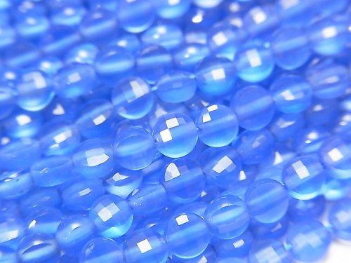 【動画】【素晴らしい輝き】ブルーアゲートAAA コインカット4×4×2mm 1連(約37cm)