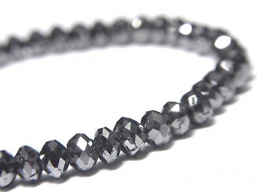 【動画】【1点もの】【1mm穴】 ブラックダイヤモンドAAA ボタンカット 1連(ブレス) NO.11