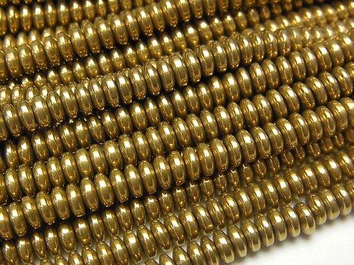 ヘマタイト ロンデル(ボタン)4×4×1mm  ゴールドコーティング 1連(約38cm)