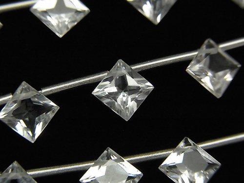 【動画】宝石質ホワイトトパーズAAA ダイヤ プリンセスカット8×8mm 1連(8粒)