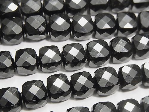 【動画】【素晴らしい輝き】宝石質ブラックスピネルAAA キューブカット8×8×8mm 半連/1連(約36cm)