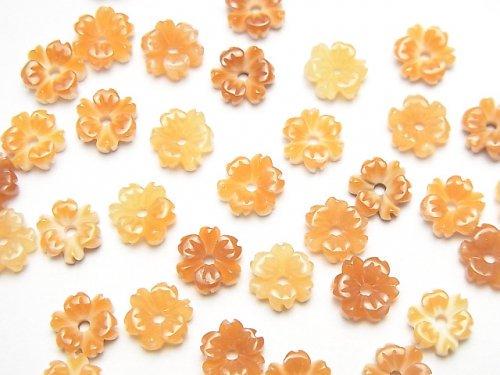 【動画】オレンジシェルAAA フラワー 6mm 中央穴 4個