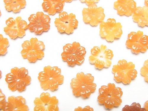 【動画】オレンジシェルAAA フラワー 8mm 中央穴 3個