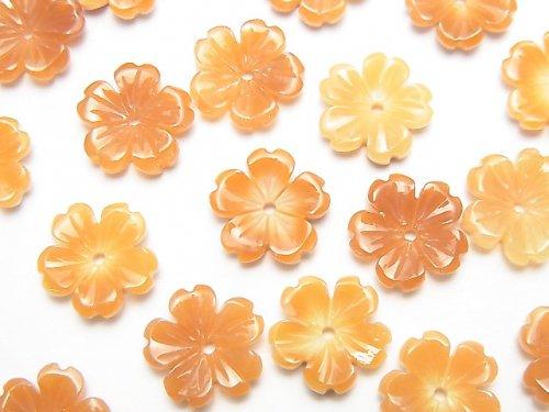 【動画】オレンジシェルAAA フラワー 10mm 中央穴 3個
