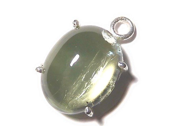 【動画】【1点もの】宝石質グリーンカラートルマリンAAA 枠留め SILVER925製 1個 NO.36