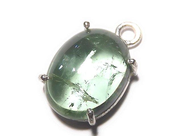 【動画】【1点もの】宝石質グリーンカラートルマリンAAA 枠留め SILVER925製 1個 NO.37