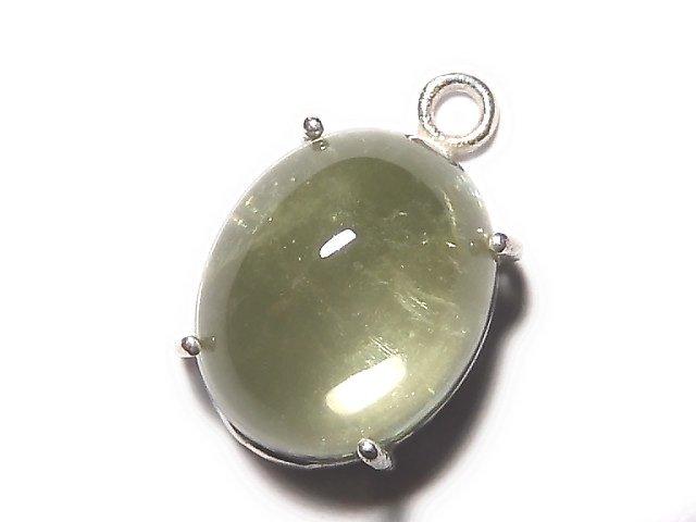 【動画】【1点もの】宝石質グリーンカラートルマリンAAA 枠留め SILVER925製 1個 NO.38