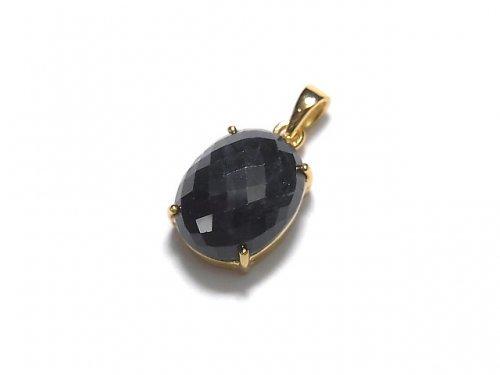 【動画】【1点もの】宝石質ブラックサファイアAAA ペンダントトップ 18KGP製 NO.97