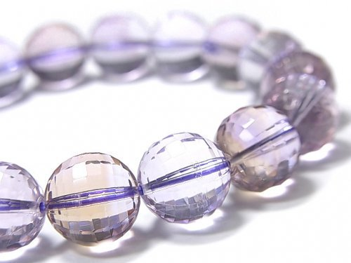 【動画】【1点もの】宝石質アメトリンAAA- ミラーラウンドカット11.5mm 1連(ブレス) NO.102