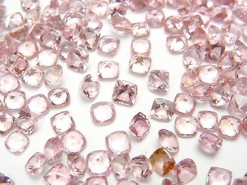 【動画】宝石質ピンクトルマリンAAA 穴なしスクエアファセットカット5×5mm 4粒